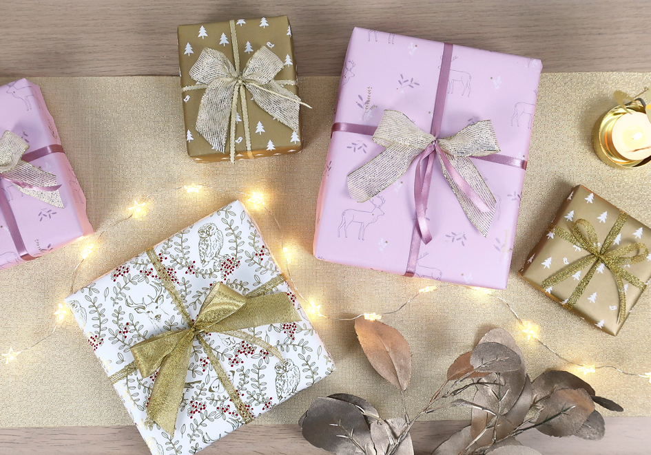 christmas gift wrap gold pink
